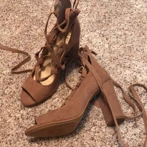 Tan lace up sandal